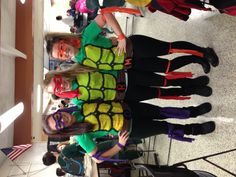 Super easy homemade Teenage Mutant Ninja Turtles costumes :) @Britney Chickenpow Chickenpow @Ally Squires Squires @Savannah Hall Hall :)