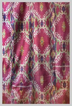 Ikat Panel Cotton warp silk weft Uzbekistan .circa 1880s Lined in Russian Cotton Chintz Measurements: 40 in x 70 in - 102cms x178cms - Esther Fitzgerald Rare Textiles