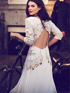 I love this combo of lace and Mexican embroidery! Free People Mexican Wedding Dress at Free People Clothing Boutique Textiles Y Moda, Mexican Fashion, Mexican Style, Festa Party, Mexican Dresses, Mode Inspiration, Wedding Gowns, Wedding Bride, Boho Wedding