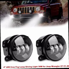 44.00$  Watch now - http://aliumy.worldwells.pw/go.php?t=32790639921 - 2pcs 4 inch 30W LED Round Fog Light Projector Driving Lamp DRL Fits for 2007-2015 Jeep Wrangler JK CJ TJ