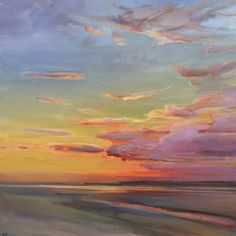 Shows at Maine Art Hill Contemporary Landscape, Abstract Landscape, Landscape Paintings, Sunset Paintings, Art Paintings, Watercolor Sunset, Sunset Art, Art Soleil, Seascape Art
