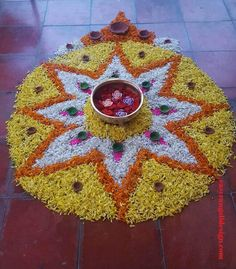 50 Most Beautiful Flower Rangoli Designs (ideas) that you can make during any occasion on the living room or courtyard floors. Indian Rangoli Designs, Rangoli Designs Flower, Rangoli Ideas, Flower Rangoli, Beautiful Rangoli Designs, Kolam Designs, Flower Designs, Diwali Decorations At Home, Festival Decorations