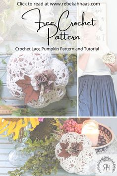 Make an adorable addition to your fall decor using this free crochet pattern. The small crochet lace pumpkin pattern can be found free by clicking the link. Crochet Fall Decor, Crochet Ideas, Crochet Projects, Crochet Pillow, Crochet Lace, Free Crochet, Knitting Patterns Free, Crochet Patterns, Crochet Pumpkin