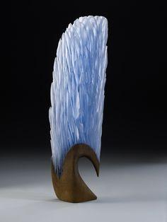 Alex Bernstein light blue crest cast and cut glass, fused steel