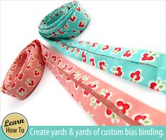 Make yards and yards of continuous bias binding, but only sew TWO seams (and do a bit of math).