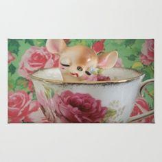 Deer in rose teacup Area & Throw Rug by Vintage  Cuteness - $28.00 #vintage #teacup #rose #deer #doe #fawn #bambi #cup #shabby #chic #pretty #nursery #girl #home #decor #rug