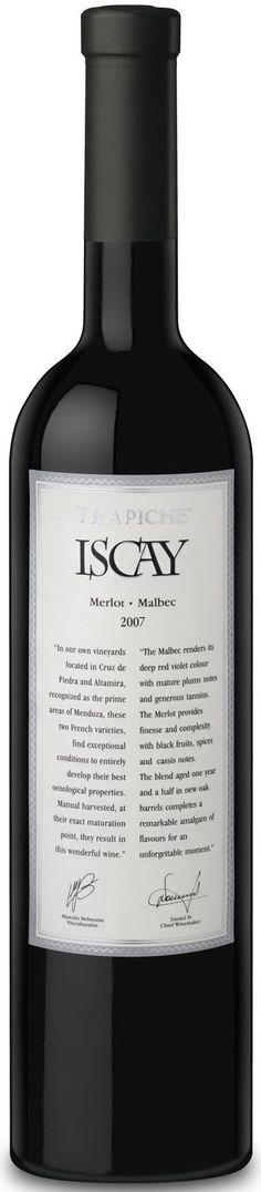 """Iscay"" 50% Merlot / 50% Malbec 1997 - Bodega Trapiche, Maipú, Mendoza-------------------- Terroir: Cruz de Piedra (Maipú)-----------Crianza: 14 meses en barricas de roble francés"