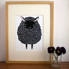 Black Sheep Illustration Nursery Art, Children Decor - Free US Shipping.