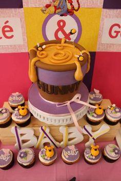 """Hunny"" cake at a Winnie the Pooh Party #winniethepooh #partycake"