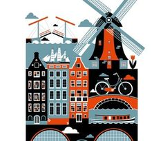 City poster series: Amsterdam, by Xenia Bystrova/Koivo Art And Illustration, Gravure Illustration, Illustrations, Motivational Wall Art, Inspirational Wall Art, City Poster, Amsterdam Art, Amsterdam Netherlands, Visit Amsterdam