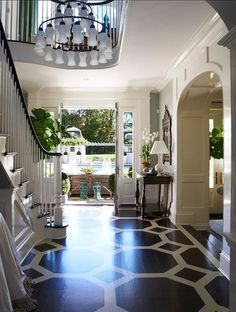 flooring design 8 Secrets to Having a Gorgeous Entrance Foyer - laurel home Entrance Foyer, Entry Hallway, Upstairs Hallway, Luxury Interior Design, Interior And Exterior, Modern Interior, Painted Wood Floors, Hardwood Floors, Estilo Interior