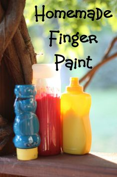Squeezable Homemade Finger Paint    Recipe for Homemade Finger Paint  1 cup flour  2 tablespoons salt  1 1/2 cups cold water  1 1/2 cups hot water  Coloring:  food coloring, tempera paint, or powdered tempera will work