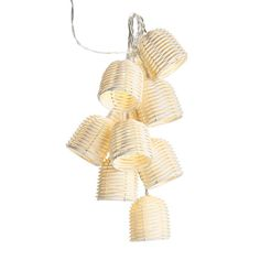 """Brighten up your outdoor space with these adorable mini lantern string lights. Perfect for any space, indoor or outdoor.10 LED lights with battery case; uses 2 AA batteries (not included); plastic, each bell: 2"""" x 2.25""""; 82"""" long.  FEATURES• 10 LED string lights with white bell-shaped lantern shades• Intended for indoor and/or covered porch use only  MATERIALS• Plastic  Made in China."""