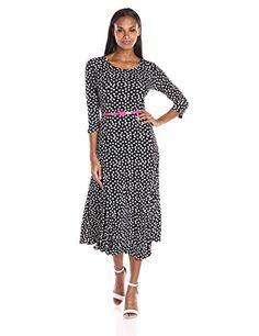 Danny & Nicole Women's Long Sleeve Polka Dot A-Line Dress.With Belt