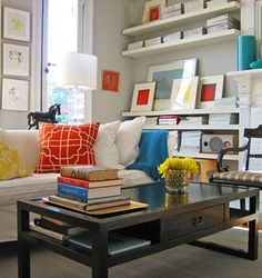 I think I could pull this off in my living room. My question is, do gray walls and brown curtains clash?!? *LM
