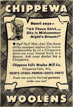 Chippewa Falls Woolen Mill Co. Ad