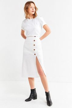Slide View: 1: BOG Collective Button-Down Linen Midi Skirt