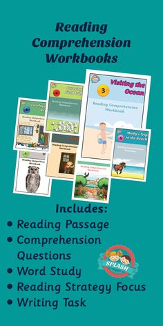 Reading Comprehension Workbooks include reading passage, comprehension questions, word study, reading strategy focus and writing task. $4.00 each from Splashresources.com.au Comprehension Questions, Reading Comprehension, Reading Response, No Response, Reading Passages, Word Study, Sixth Grade, Reading Strategies, Teaching Reading