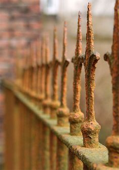 old rusty iron fence