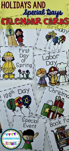 A set of 54 holidays and special days calendar cards. These cards fit in a standard calendar pocket chart and are a fun way to highlight special days throughout the year.