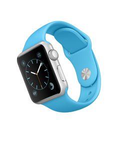 Apple Watch Sport – Caixa de 38 mm prateada de alumínio com pulseira desportiva azul