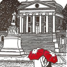 "This gocco screenprint is the second in my new ""College Love"" series, and features a couple walking near UVA's Rotunda under their red* umbrellas (please note, the print comes with red umbrellas unless you request otherwise in the ""note to artsharkdesigns"" box in your cart during checkout. See the end of this listing for more information).."