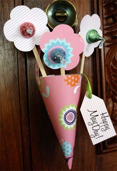 paper cones, idea, activities for kids, basket, paper flowers, diy gifts, handmade gifts, hershey kisses, mothers day crafts