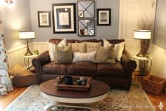 New living room brown sofa leather chesterfield Ideas Brown Couch Living Room, Living Room Paint, New Living Room, Small Living, Blue And Brown Living Room, Modern Living, Leather Living Room Furniture, Brown Furniture, Furniture Ideas