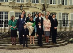1991 - The Christening of Princess Alexandra of Luxembourg, shown with her parents Hereditary Grand Duke Henri and Hereditary Grand Duchess Maria Theresa, paternal grandparents Grand Duke Jean and Grand Duke Josephine, and maternal grandparents.