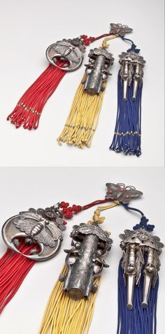 Korea | Woman's waist ornament (Samjak Norigae) | Silver, ox horn, wood brass, cord, glass | 1800 - 1899