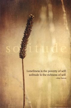 """Loneliness is the poverty of self; solitude is the richness of self"" Solitude by Shannon Marie"