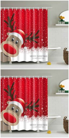 Sparkling Christmas Tree Red Window Curtains Shower Curtain Set Bathroom Decor