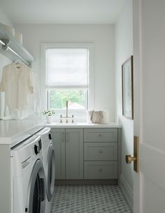 An Elegant, Neutral, and Family-Friendly Home from Paperwhite Interiors | Rue Laundry Room Inspiration, Room Interior Design, Tile Patterns, Friends Family, Storage Solutions, House Tours, Neutral, Home Appliances, Elegant