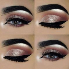 Gorgeous eye makeup looks, pink crease, silvery eye