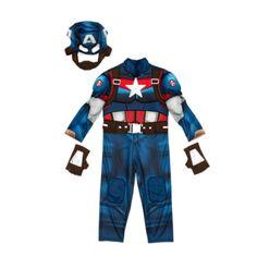 Transfórmate en el valiente superhéroe y luce su estrella con orgullo con este impresionante disfraz del Capitán américa. El disfraz de tres piezas, con increíbles ilustraciones del personaje y músculos acolchados, incluye el traje, la máscara y unos guantes sin dedos.