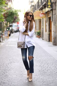 White Button Down + Ripped Jeans