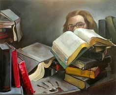 Self Portrait with Books, Priscilla Warren Roberts, painter.  I'm thinking about how deeply connected I feel to people I've never met.