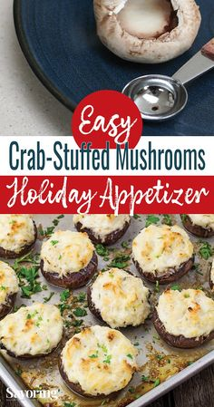 Crab-Stuffed Mushroom Appetizer An impressive and indulgent appetizer is what every party needs. Easy and fail-proof is what you need. These Crab-Stuffed Mushrooms are always a hit! Mushroom Appetizers, Appetizers For A Crowd, Seafood Appetizers, Healthy Appetizers, Seafood Recipes, Appetizer Recipes, Healthy Snacks, Snack Recipes, Dinner Recipes