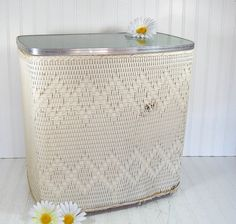 Off White Wicker and Wood Hamper with Aqua Sea by DivineOrders, $32.00