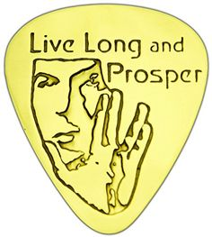 """Unique & Custom [0.38mm Thin Gauge - Traditional Style Semi Tip] Hard Luxury Guitar Pick Made of Genuine Solid Brass w/ Live Long and Prosper Star Trek Spock Design """"Gold Yellow Colored"""" {Single Pick} mySimple Products"""
