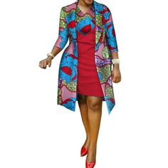 African cotton wax Print Dress and Suit Coat for Women – Afrinspiration African Print Dress Designs, African Print Dresses, African Dress, African Design, Ankara Dress, African Fabric, African Attire, African Wear, African Women