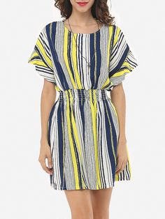 #Fashionmia - #Fashionmia Vertical Striped Batwing Delightful Round Neck Skater-dress - AdoreWe.com