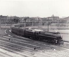 PRR Locomotives K4s No. 3678 Class 4-6-2 Streamliner at St. Louis Yard. Photo No. 296a