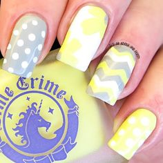 Lovely mix and match #manicure. Love this combination of grey and yellow ===== Check out my Etsy store for some nail art supplies https://www.etsy.com/shop/LaPalomaBoutique