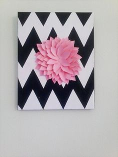 chevron canvas painting with flower by NavySkiesAhead on Etsy, $12.00