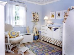 Wonderful Baby Room Blue Bright Interior Brown Sofa Wooden Style Floor