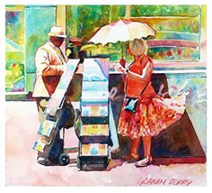 """Street preaching by Graham Berry Watercolor ~ 9"""" x 10"""""""