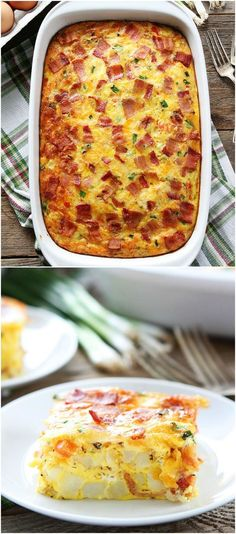 Bacon, Potato, and Egg Casserole Recipe on twopeasandtheirpod.com. This easy breakfast casserole can be made in advance. It is the perfect for breakfast, brunch, or dinner!