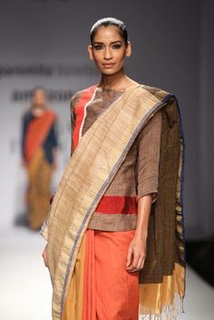 #AIFW #AW15 #AIFWAW15 #IndianFashion #ParomitaBanerjee #Woven #Stripes #Prints #Indian #Scarves #Textiles #Layering #Khadi #Natural #Mufflers #Linen