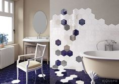 Carrelage Hexagonal Salle De Bain Hexatile Blanco Brillo 17520 intended for Carrelage Hexagonal Salle De Bain Hexagon Tile Bathroom, Hexagon Tiles, Bathroom Wall, Bath Tiles, Mosaic Tiles, White Wall Tiles, Wall And Floor Tiles, White Walls, Home Interior